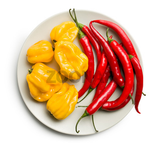 chili peppers and habanero on plate