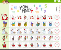counting task for kids with cartoon Christmas characters