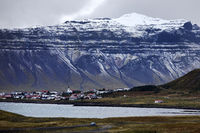 The place Grindafjoerdur with snow-covered mountain in autumn, Snæfellsnes, Iceland, Europe