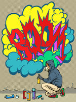 A teenage boy draws a graffiti image of the tag boom. street art