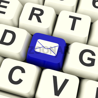 Envelope Computer Key In Blue For Emailing Or Contacting People