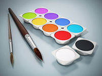Watercolor paints and paintbrushes isolated on white background. 3D illustration