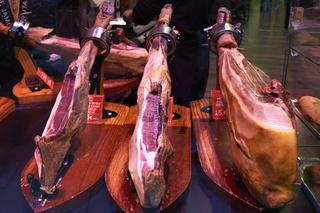 Barcelona. Catalonia. Spain. The Mercat de Sant Josep de la Boqueria. Jamon Iberico (dry cured ham)