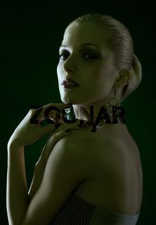 beautiful blonde on green