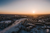 aerial view on beautiful winter sunset in Berlin