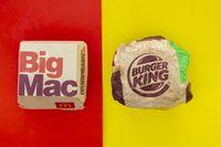 Calgary, Alberta. Canada. May 17, 2021. A Mcdonald's Big Mac and Burger King Whopper hamburgers. Concept: Top Hamburger Companies