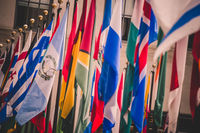 Colorful flags of various countries of the world
