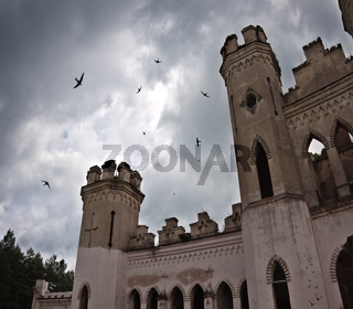 ancient castle under dark sky