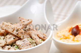 chicken taboulii couscous with hummus