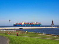 Container ship Hyundai Dream in the North Sea off Cuxhaven Döse and the Kugelbake
