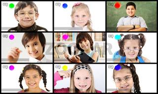 Childen having online school distance learning