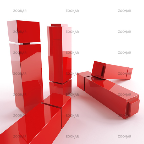 bright metallic abstract red cubes on a white back