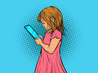 a little girl uses a smartphone. Electronic gadgets and children