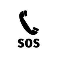 Helpline SOS symbol with handset silhouette, simple black call pointer icon on white