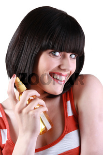 young woman promoting a new beauty product