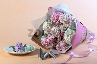 Bouquet of lilac from marshmallows.