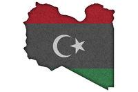 Karte und Fahne von Libyen auf Filz - Map and flag of Libya on felt
