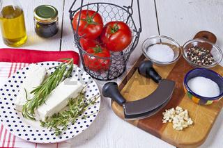 Zutaten für gebackenen Feta