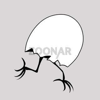 vector silhouette nestling in egg