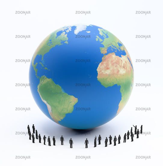Tiny people standing around Earth