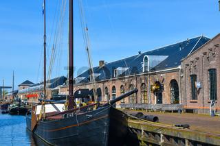 Den Helder, the Netherlands. The boats and warehouses of the former shipyard Willems in Den Helder, the Netherlands