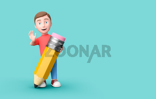 Young Kid 3D Cartoon Character with a Funny Pencil on Blue with Copy Space