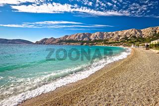 Baska. Idyllic pebble beach in town of Baska view