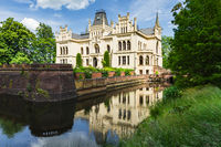 Water castle Evenburg, water reflection, Leer, East Frisia, Germany