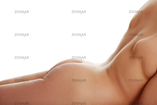 Naked back of overweight woman.