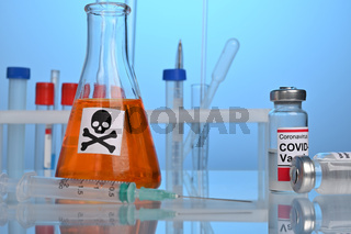Covid-19 Vaccination Set on a Lab Desk with Death Remedy