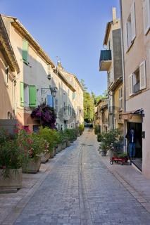 Saint Tropez, Old city street view with colorful houses, Côte d'Azur. France, Europe