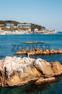 Beach town view from Samsa Marine Walkway in Yeongdeok, Korea