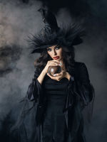 Halloween witch with crystal ball