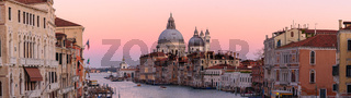 Grand Canal with Santa Maria della Salute at background at sunset time, Venice, Italy