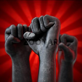 Black fists on red background. Diversity concept. 3D illustration