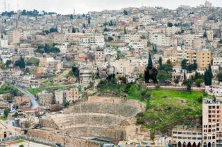 ancient Roman theater in Amman , Jordan
