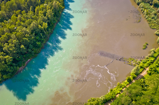 Aerial view of Drava river on mouth with Mura, Podravina region of Croatia