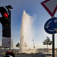 Monheimer Geyser in the closed roundabout during the eruption, Monheim am Rhein, Germany, Europe