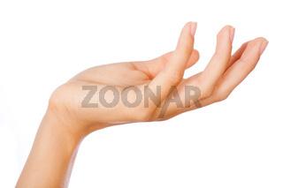 Gesture of womans open hand