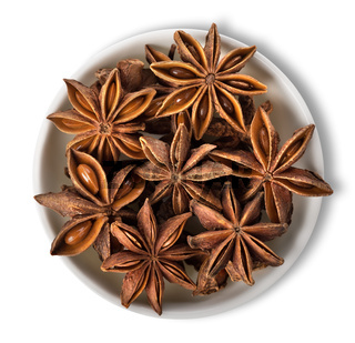 Star anise in plate isolated