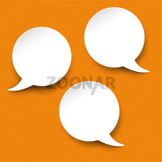 Three White Communication Speech Bubble Orange Stripes