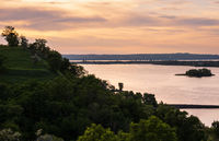 Dnipro river summer evening view from Taras Hill or Chernecha Hora (Monk Hill - important landmark of the Taras Shevchenko National Preserve, Kaniv, Cherkasy Region, Ukraine.