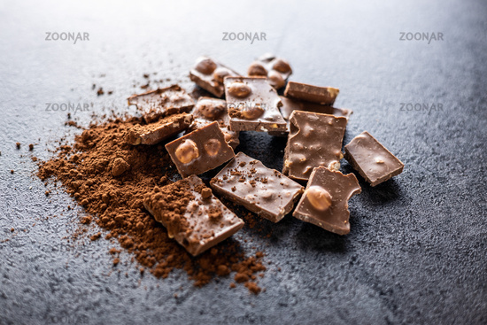 Nutty chocolate with hazelnuts and cocoa powder.
