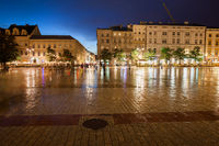Main Square in Old Town of Krakow at Night