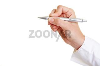 Hand hält Kugelschreiber