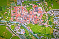 Fortified village of Glorenza or Glurns in Val Venosta aerial view.