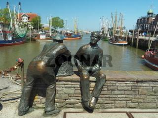 Fischer-Denkmal in Neuharlingersiel, Nordsee, Ostfriesland