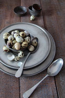 Quail eggs with pewter plates on wood table