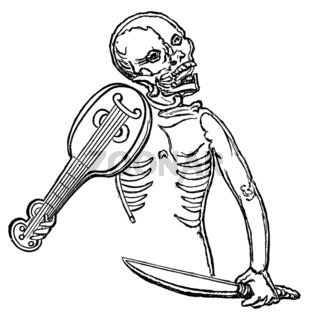 Historical drawing from the 19th Century, human skeleton playing