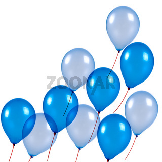Blue balloons on white background